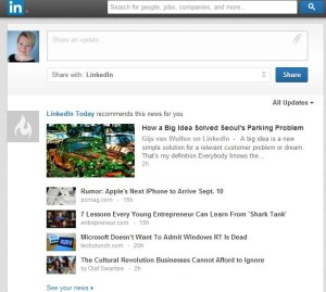 LinkedIn newsfeed for blog content inspiration